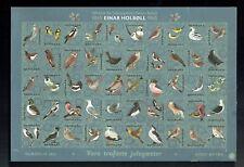 1865-1965 Einar Holboll Denmark Bird Stamps Proof Sheet 50 Stamps!