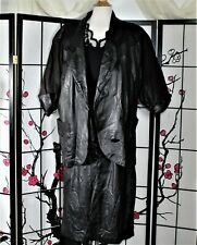 CASUAL CAREER  LEATHER SKIRT SUIT SEPARATE BLACK PLUS 18-XL