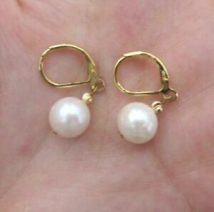 Charming  Akoya Round Pearl Dangle Earring 14k Gold Hook