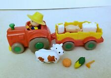 CAILLOU Farm pull back Tractor, Trailer & Figure Play Set, cow, pig- 13 pieces