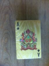 24 Carat Gold Plated Playing Cards in Felt Lined Wood Box w/Certificate - NEW