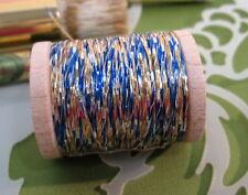 Vintage Royal Blue - Gold - Silver Metallic Tinsel  Fly Tying  Weave Knit