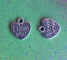 "15 ""I Love You"" Heart Charms for Jewelry Making Tibetan Silver"