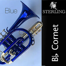 BLUE Pro Bb Sterling CORNET • With Case and Accessories • BRAND NEW • SUPERB •