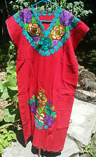 Maya Mexican Dress Embroidered Flowers Chiapas Puebla Red Rainbow Large XL #FB