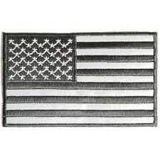 Embroidered American US Flag Black & Reflective Sew or Iron on Patch Biker Patch