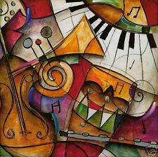 "35W""x35H"" JAZZ IT UP I by ERIC WAUGH - RED MUSICAL INSTRUMENTS CANVAS"