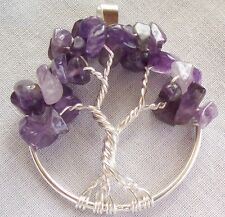 Tree of Life Necklace Pendant Amethyst Wire Wrapped Silver February Birthstone