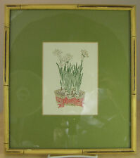 """Floral Art Print with Bamboo Wood Frame Spring Bulb Flowers 11 x 13"""""""