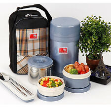 Stainless Steel Thermal Bento Sealed Lunch Box Bentoset Insulated Bag 950ml