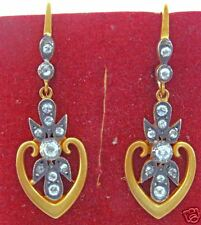 VINTAGE ART NOUVEAU 18K & DIAMONDS LONG DANGLE EARRINGS