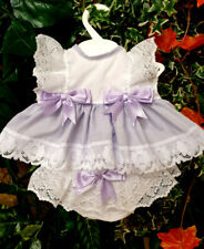 DREAM 0-5 YEARS BABY SUMMER LILAC BOWS TOP AND  KNICKERS SET  OR REBORN DOLLS
