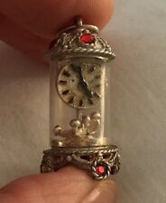 Vintage Sterling Silver Rare Crystal Carriage Clock Nuvo Charm/ Pendant