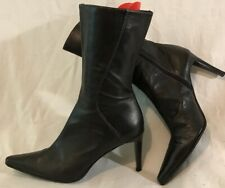 Next Black Mid Calf Leather Lovely Boots Size 6 (148vv)