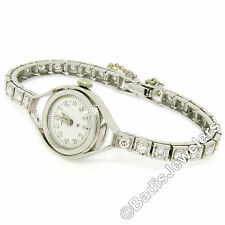 Antique Hamilton Platinum 17j 1.61ct Round Transitional Cut Diamond Ladies Watch
