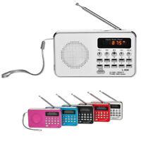 Portable FM/AM Radio Digital Mini Speaker Music MP3 Player AUX USB TF LED Light