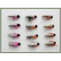 Tungsten Czech Nymphs, Trout Flies 12 x Orange Red & Pink, Choice of Sizes,