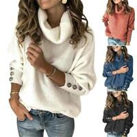 Womens High Roll Polo Neck Baggy Sweater Tops Winter Chunky Knit Pullover Jumper