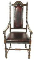 Antique Gothic Oak and Leather Armchair - FREE Shipping [PL4585]