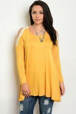 WOMEN'S PLUS SIZE MUSTARD YELLOW EXPOSED SHOULDER LACE ACCENT TOP 2XL NEW