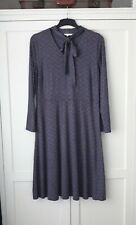 Lovely UK 16 White Stuff Long Blue & Brown Spotty Dress Pussy Bow Long Sleeves