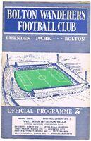 Bolton Wanderers v Aston Villa 1958/9 (18 Mar)