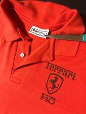 Rare Vintage 80s Ferrari F40 Red Polo Short Sleeve Shirt Sports Car Racing