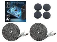 PS4 Set USB Kühler Lüfter + Thumb Grips + 2x Controller Ladekabel (3 Meter)