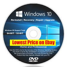 RESTORE, UPDATE, INSTALL WINDOWS 10 (ALL VERSIONS) HOME PRO 32bit 64bit (1 DVD)