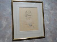 Antique Framed Drawing of a Girl, Signed