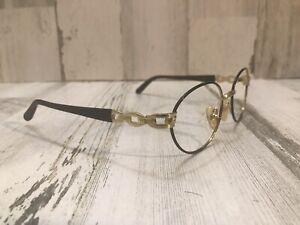 Fendi F69 Ebony 135 Gold Made In Italy Women's Oval Frame Eyeglasses Frame Only