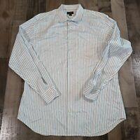 Banana Republic Slim Fit Classic Fit 17 17.5 Men XL Button Down Dress Shirt Blue