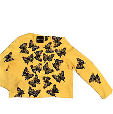 Yellow Michael Simon Embroidered Butterfly Button Crop Cardigan Sweater Women M