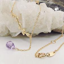375 Gelbgold Goldkette Halskette Collier Kette Y-Kette 45cm Amethyst 9Kt GOLD
