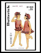 BUTTERICK 3160 BATHING SUIT ROMPER Sunsuit PLAYSUIT Bonnet Dress Pattern  ~3~
