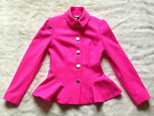 TED BAKER Bracti pink peplum jacket dress coat full skirt fit & flare wool 1 8