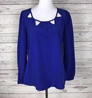 Blu Pepper Women's Royal Blue Boho Lace Cut Out Scoop Neck Top / Blouse Size L