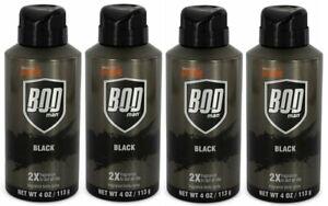 (Pack of 4) Bod Man Black by Parfums De Coeur Body Spray 4 oz for Men