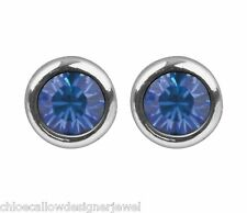 September Birthstone 4mm Sapphire Crystal Gem Ear Studs Earrings + gift bag