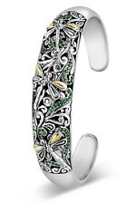 DEVATA Sweet Dragonfly Sterling Silver 925 Bracelet 18K Gold CZ Emerald SFK8516