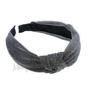 Stylish Silver Velvet Hard Headband w/Turban Knot Girls Hair Accessory Head Band