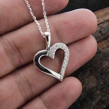 Heart Shape Pendant Necklaces 0.20 Ct Diamond Round Cut 14k White Gold Finish