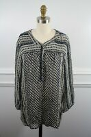 Lucky Brand  Black Ivory Brown Sheer Floral Peasant Blouse Boho Size XL