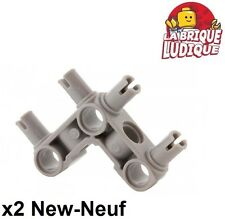 Lego technic - 2x connector perpendicular 3x3 4 pins gris/l. b. gray 55615 NEUF