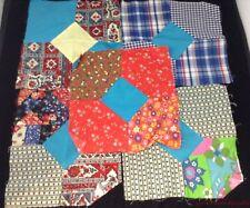5 Bright Retro Bow Tie Quilt Blocks Wild Red Green Blue Crafts or ? FR SHP