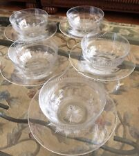 10 Pieces Webb Corbett Crystal Glass Finger 5 Set Of Bowls & Under plates Signed