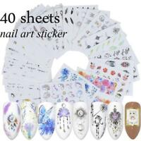 40 Sheets DIY Water Transfer Decal Flower Manicure Nail Art Stickers Decoration