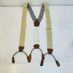 Brooks Brothers Suspenders Braces Purple polka Dots on Yellow Cream Leather Tab