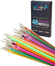 ColorIt 48 Gel Pen Ink Refills For Glitter, Metallic, and Neon - Color Coded