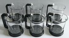 Bodum Glass Tea / Coffee / Cups x 6 with Black Plastic Handles - Please Read.